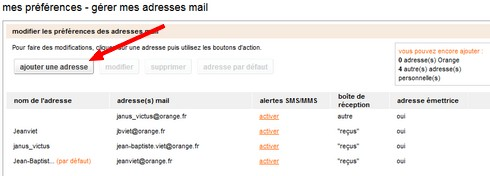 Ajouter adresse mail
