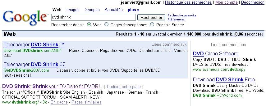 dvd shrink rencontre erreur ne peut continuer