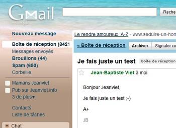 Mail recu sur Gmail
