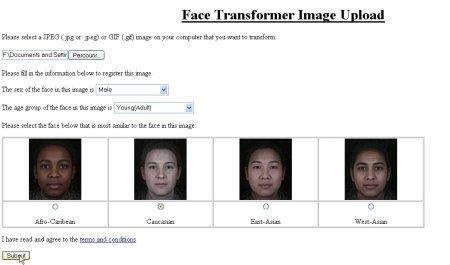 paramètres Face Transformer