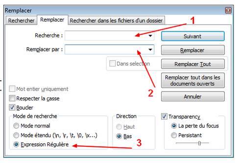 Notepad++ fenêtre rechercher et remplacer par