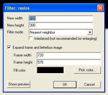 720x300 sur 720x576 avec virtualdub