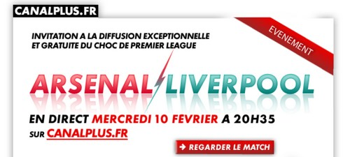 arsenal liverpool video en streaming gratuit le 10 02 sur canal plus fr. Black Bedroom Furniture Sets. Home Design Ideas