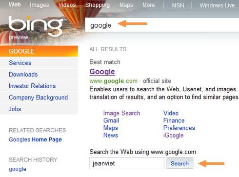 Google sur Bing