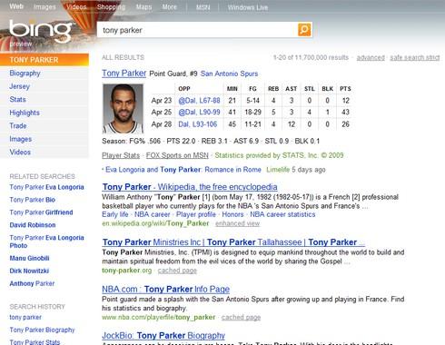 Tony Parker sur Bing