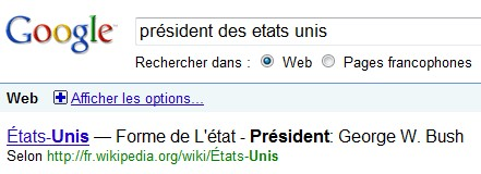 Président + Pays chez google