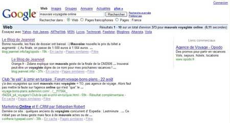 voyagiste online sur google