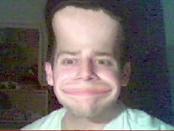 visage déformé avec webcamtastic