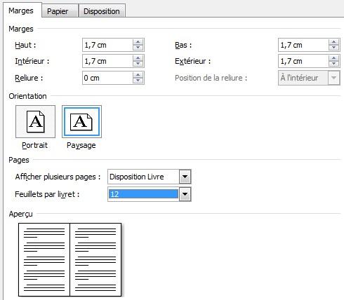 mise en page word Livret