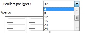Mise en page livret, nombre de feuillets
