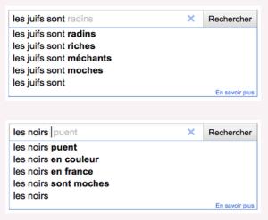 insultes racistes et antisémites dans les suggestions de Google
